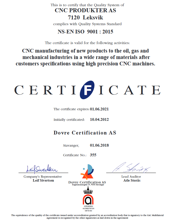 b00c4747 Sertifisert iht. NS-EN ISO 9001:2015